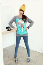 gold YiSHiON hat - silver Gee sweater - sky blue vICTORIA jeans - sky blue Caris
