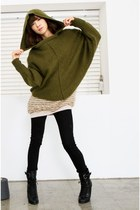 army green sweater - black pants - black boots