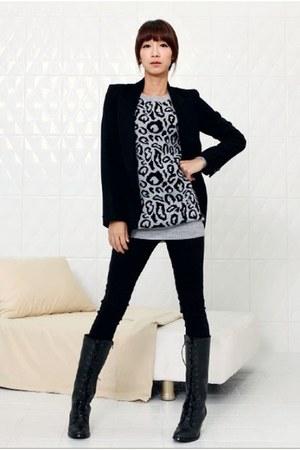 black Chisel coat - heather gray YiSHiON sweater - black G Star blouse - black P