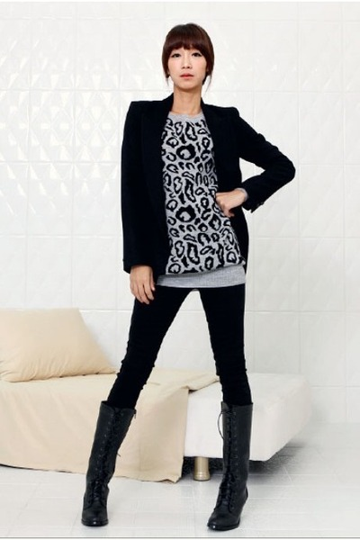 black Chisel coat - heather gray YiSHiON sweater - black G Star blouse - black P
