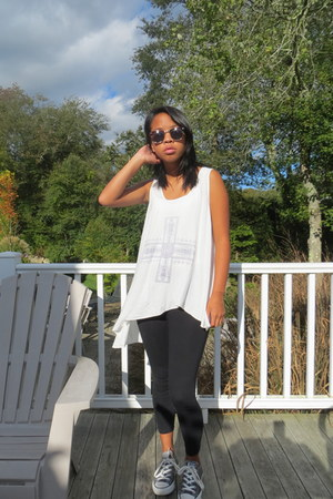 Target leggings - zeroUV sunglasses - free people vest - Converse sneakers