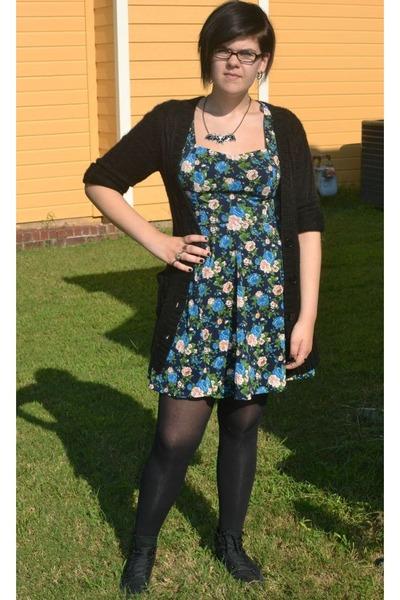 blue floral Forever 21 dress - black Forever 21 cardigan