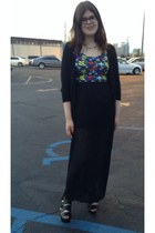black H&M dress - black heels - black Target cardigan