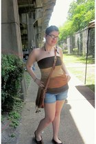 burnt orange leather bag - faded denim shorts - dark brown Forever 21 top