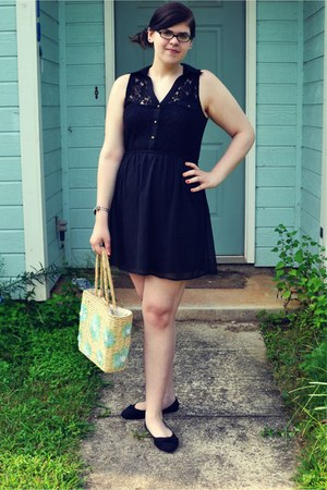 basket bag - black dress - black Rue 21 flats - metal rose bracelet