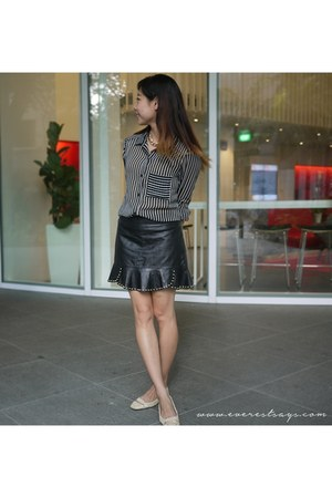 leather Zara skirt - sheer Forever 21 shirt