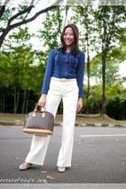 pants - bag - blouse - wedges