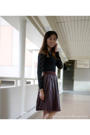 sheer velvet H&M top - leather asoscom skirt