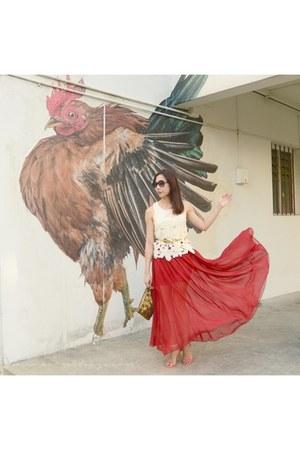 red asos heels - ruby red Sheinside skirt