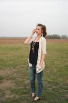 jeans - necklace - sandals - top - necklace - cardigan