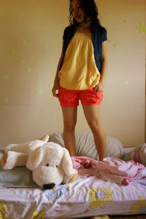 red shorts - yellow pinkapple blouse - Penshoppe blazer