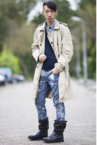 acne coat - Topman jumper - Topman shirt - DIY Armani Jeans jeans - dirk bikkemb