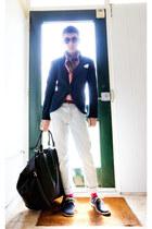 Clarks shoes - acne jeans - Zara blazer - Zara scarf - maison martin margiela ba