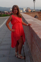 red dress - light yellow sandals - hot pink earrings - neutral accessories