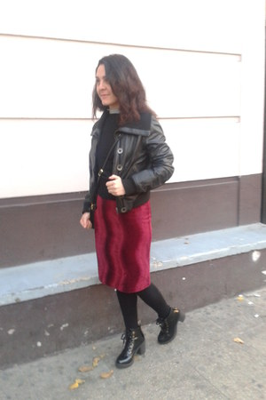 black leather Americanino jacket - H&M skirt