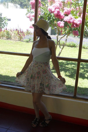 thrifted hat - printed skirt - studded sandals - aquamarine Basement swimwear