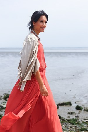 Parfois necklace - coral Zara dress - beige La Boheme blazer