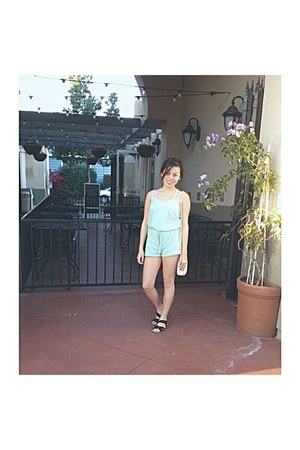 white bag - green mint linen thrifted romper - black strappy sandals