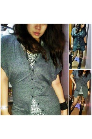 gray Forever 21 cardigan - random from Hong Kong - brown department store shorts