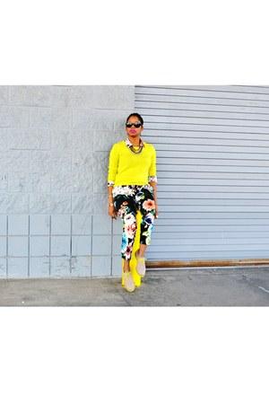 floral Zara blouse - cashmere neon Jcrew sweater - floral H&M pants