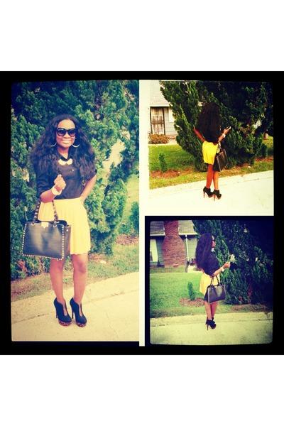orange Leopard and Pleats shoes - black Studs bag