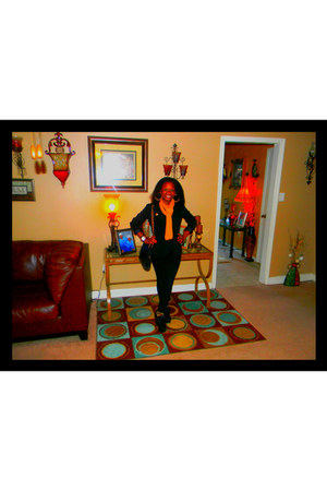 black skinny jeans jeans - black Forever 21 blazer - mustard scarf scarf