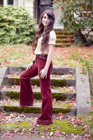 brick red corduroy J Brand pants - cream satin vintage blouse