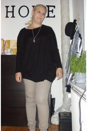 black Vila blouse - beige pieces panties
