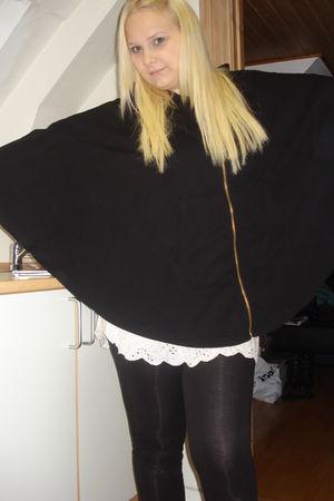 black H&M jacket - white Bik Bok dress - black H&M leggings - silver GINA TRICOT