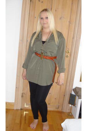 green GINA TRICOT shirt - brown GINA TRICOT belt - black pieces leggings - gold