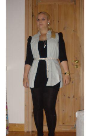 black Bik Bok dress - black H&M leggings - blue GINA TRICOT vest - white GINA TR