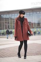 brick red Mint & Berry coat - black H&M scarf - black H&M heels