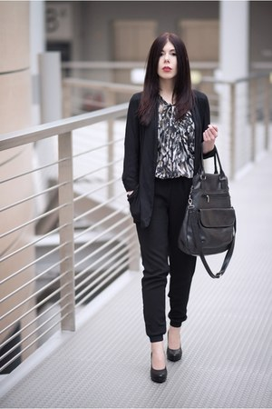 black new look blazer - dark brown Vero Moda shirt - black moodo pants