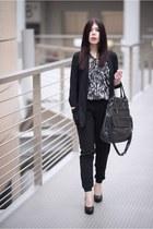 black new look blazer - dark brown Vero Moda shirt - black moodo pants