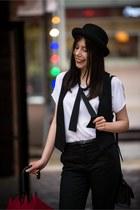 black bowler hat reserved hat - black elegant H&M vest