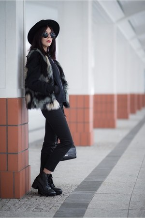 black bomber H&M jacket - black creepers Stradivarius shoes