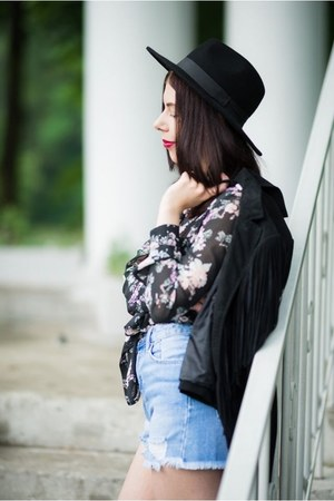 black fedora H&M hat - black fringed Only jacket