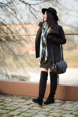black Ray boots - black mini dress H&M dress - black wool H&M coat