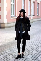 black creepers Bershka shoes - black wool F&F coat - black wool H&M hat
