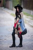 black faux leather Buty Na Czasie boots - black wool H&M hat
