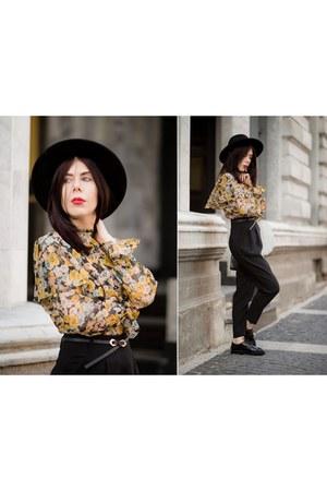 yellow retro Zara shirt - black suede H&M hat - black elegant H&M pants