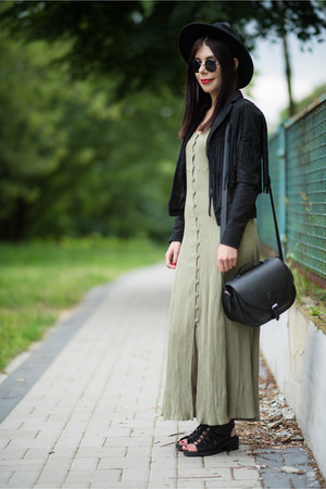 black fedora H&M hat - olive green maxi no name dress - black suede Only jacket