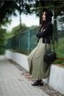 Olive-green-maxi-no-name-dress-black-fedora-h-m-hat-black-suede-only-jacket