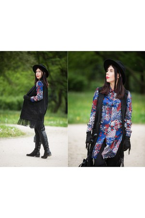 black suede Top Secret vest - black Ray boots - blue flowers H&M dress