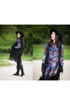black suede Top Secret vest - black Ray boots - blue flowers H&M dress