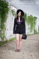 black embroidered no name blouse - black fedora H&M hat