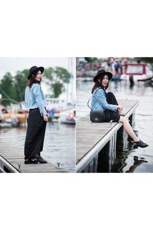 black maxi dress H&M dress - black fedora H&M hat