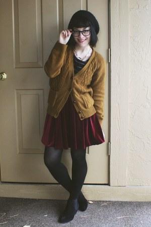 crimson velvet skirt - black suede ankle Aldo boots - black pom-pom H&M hat