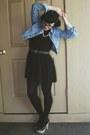Black-drop-waist-h-m-dress-light-blue-denim-forever21-jacket