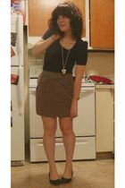 brown f21 skirt - black Target shoes - blue Wet Seal top - silver Target necklac
